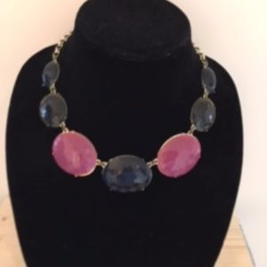 Talbots Statement Necklace, Faceted Ovals, Navy